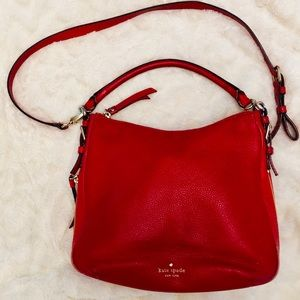 kate spade Red Pebbled Leather Hobo Bag
